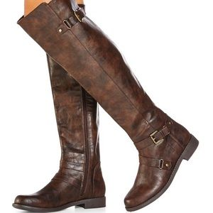 Brown Vegan Leather Knee High Boots